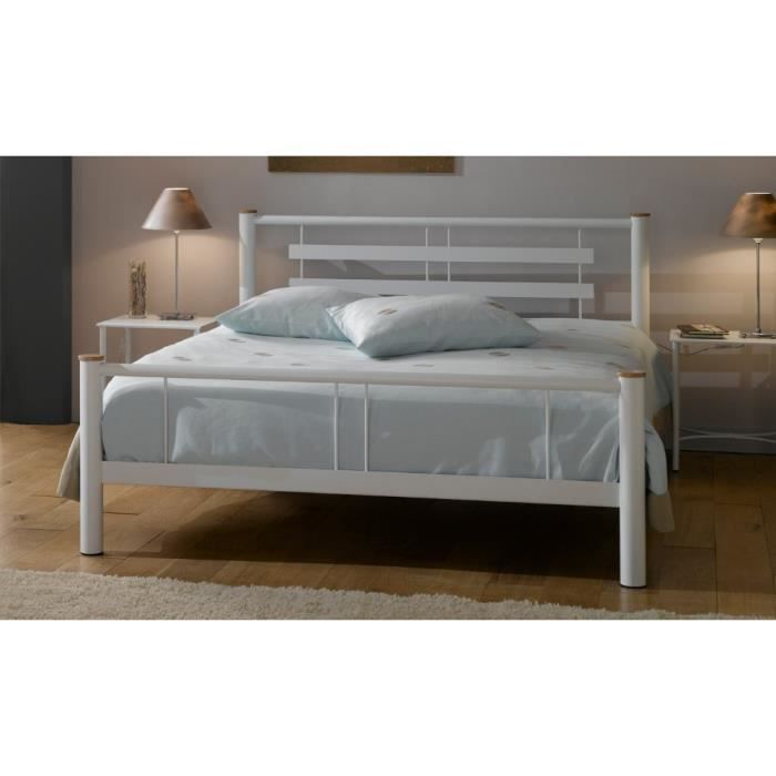lit adulte m tal 140x190 roxy ferplay blanc achat vente structure de lit cdiscount. Black Bedroom Furniture Sets. Home Design Ideas