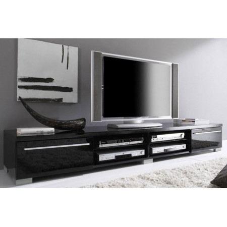 Meuble tv design noir laqu cavalli 210 cm achat vente - Meuble tv but noir ...