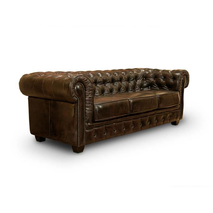 canap chesterfield 3 places en cuir v ritable brun massivum achat vente canap sofa. Black Bedroom Furniture Sets. Home Design Ideas