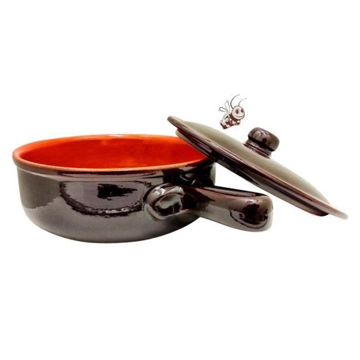 Casserole en terre cuite de diam tre 24cm avec couvercle pour la pr paration - Casserole en terre cuite ...