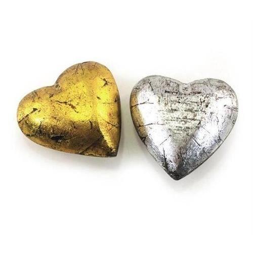 Objet decoratif x 2 coeur or argent 7 cm achat for Objets decoratifs maison