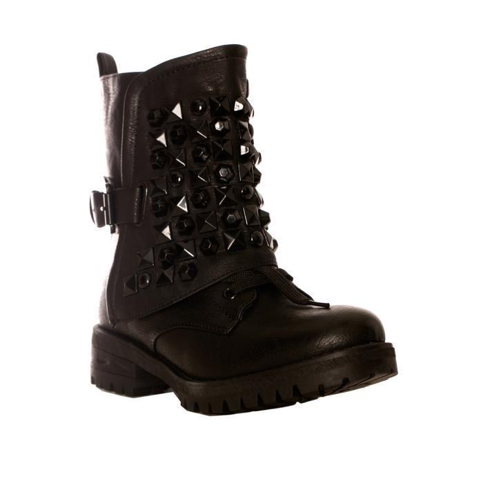 dmarkevous bottines noires femme petit talon lacets et bandeaux clou noir 41 noir. Black Bedroom Furniture Sets. Home Design Ideas