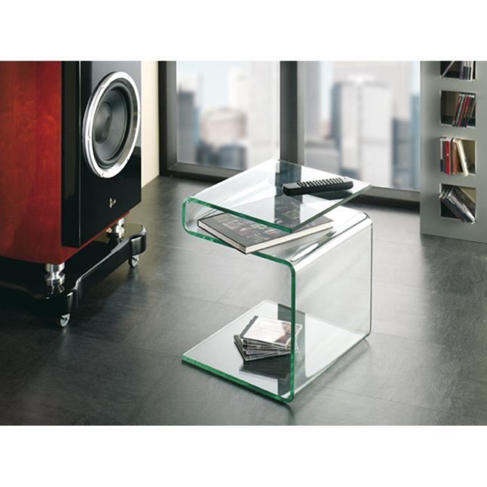 Table d 39 appoint en verre clair l48 x h38 x p42 cm achat for Table d appoint verre