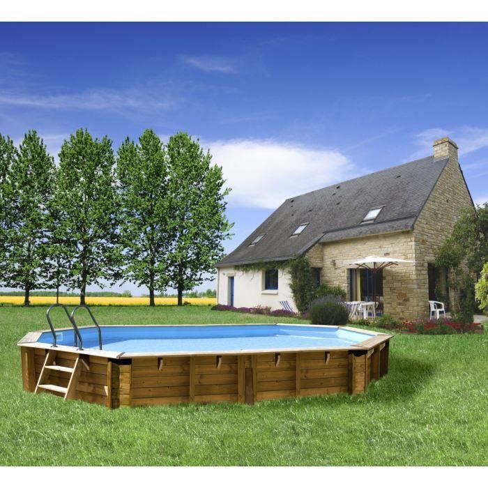 Piscine bois curuba 6 42 x 4 12 m x h1 33 m achat for Piscine bois destockage