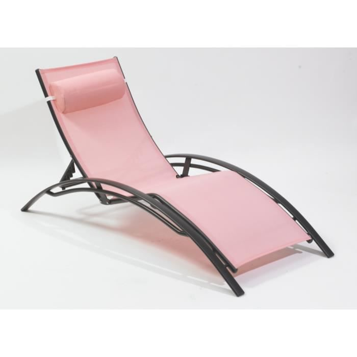 Chaise longue multi positions en aluminium et t achat for Chaise longue aluminium et textilene
