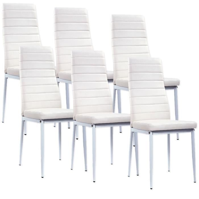 Chaise blanche giga matelass lot de 6 achat vente for Soldes chaises blanches