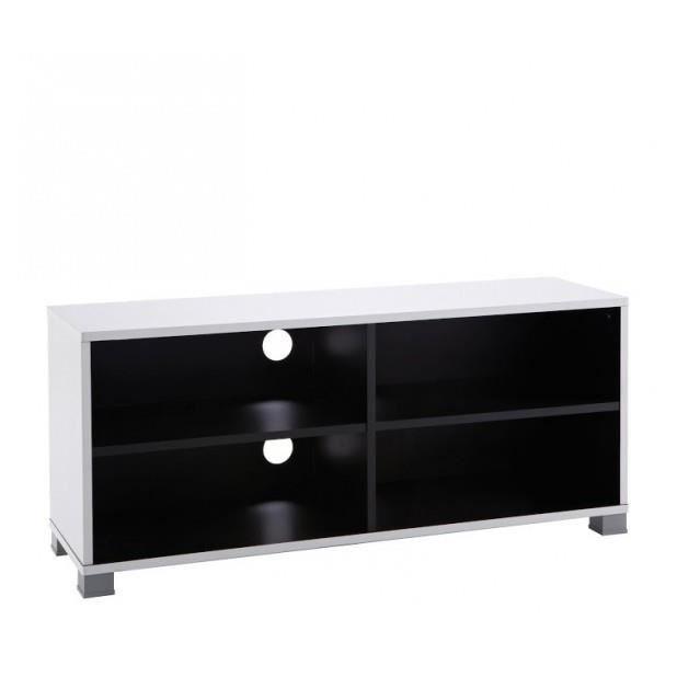 Banc tv 101cm grafit noir blanc achat vente banc noir for Banc tv noir