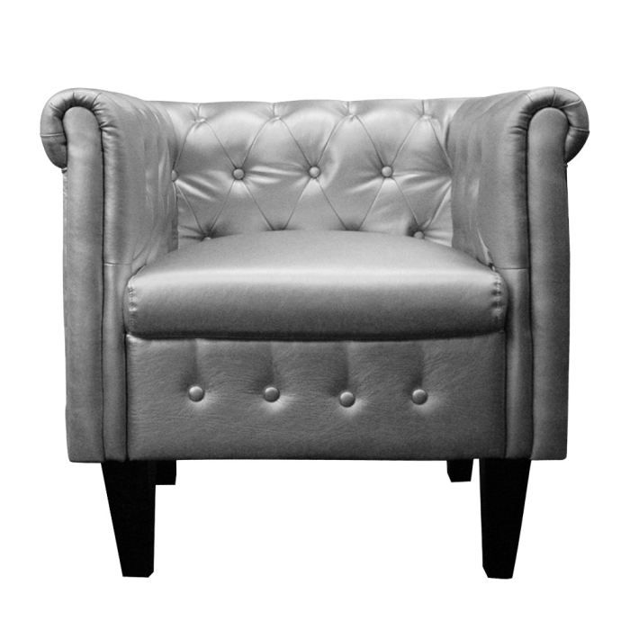 Fauteuil chesterfield junior cuir argent achat vente fauteuil mati re de - Fauteuil chesterfield argent ...