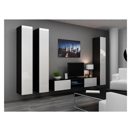 Meuble tv design toutan noir et blanc achat vente for Meuble salon blanc et noir