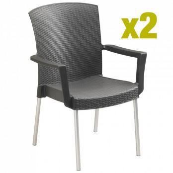 fauteuil de jardin en résine tressée grosfillex... - Achat ...
