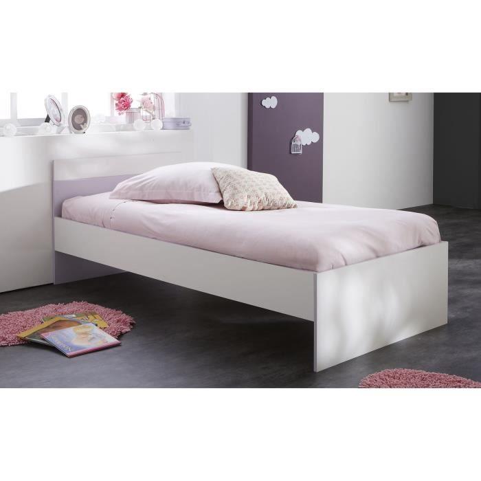 lina lit enfant 90 x 190 200 cm blanc parme achat vente structure de lit lina lit 90 x 190. Black Bedroom Furniture Sets. Home Design Ideas