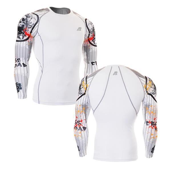 compression chemises homme couche de base en cours manche longue gym workout shirts fitness. Black Bedroom Furniture Sets. Home Design Ideas