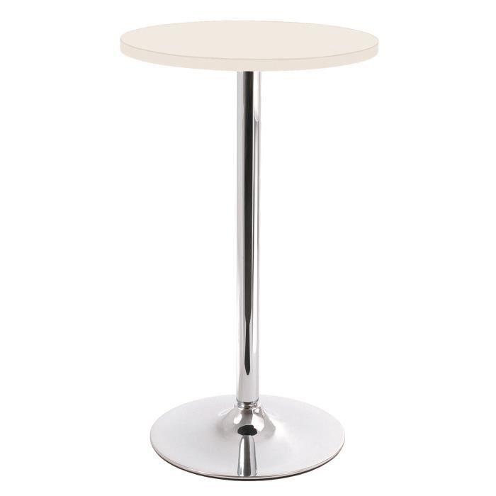Table de bar en tube d 39 acier coloris blanc hau achat vente mange debout table de bar en - Table mange debout blanc laque ...