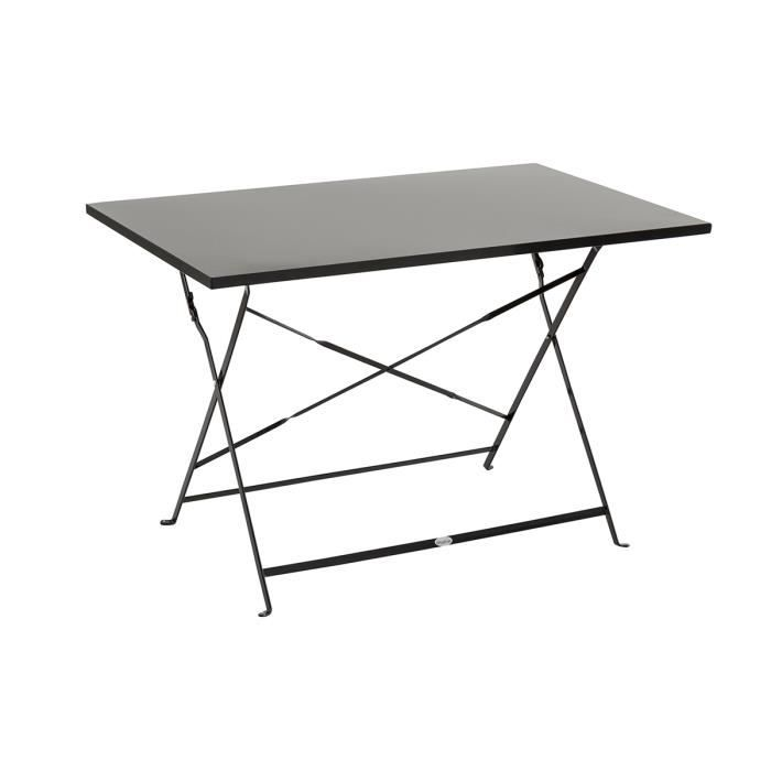 table julia rectangle noire en acier 4 places 110 x 70 x 71 cm achat vente table de jardin. Black Bedroom Furniture Sets. Home Design Ideas