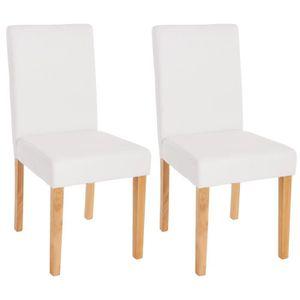 CHAISE Lot de 2 chaises de séjour Littau, PU, blanc mat,
