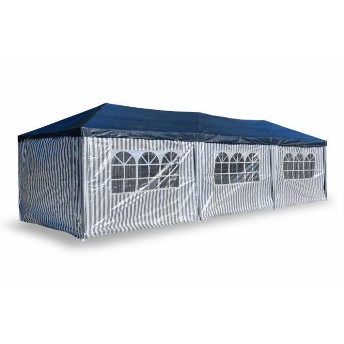 Tente De Jardin Pergola 3x9m Massilia Toile Bleu Achat Vente Tonnelle Barnum Tente De