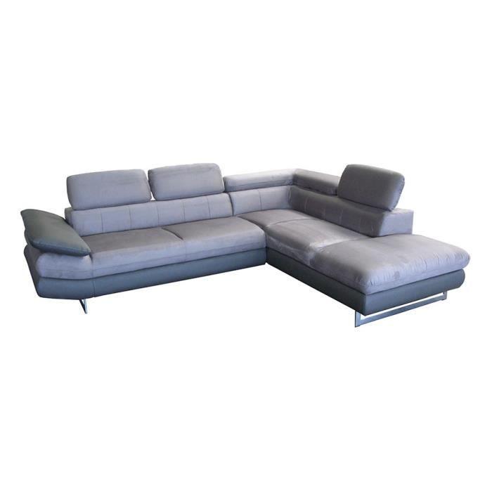 canap d 39 angle gris en pu et tissu esteban angle droite. Black Bedroom Furniture Sets. Home Design Ideas