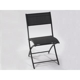 Chaise pliante en aluminium et textil ne coloris noir for Chaise longue aluminium et textilene
