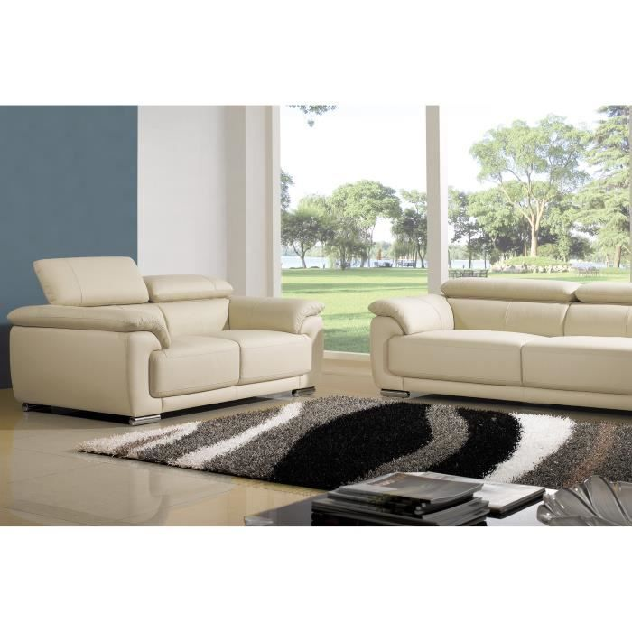salon cuir sup rieur 3 2 places beige marjorie achat vente canap sofa divan cdiscount. Black Bedroom Furniture Sets. Home Design Ideas