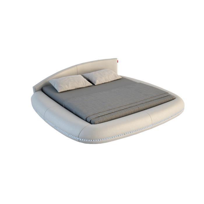 lit rond avec clairage int gr en cuir avec sommier cuscino 160 x 200 cm achat vente. Black Bedroom Furniture Sets. Home Design Ideas