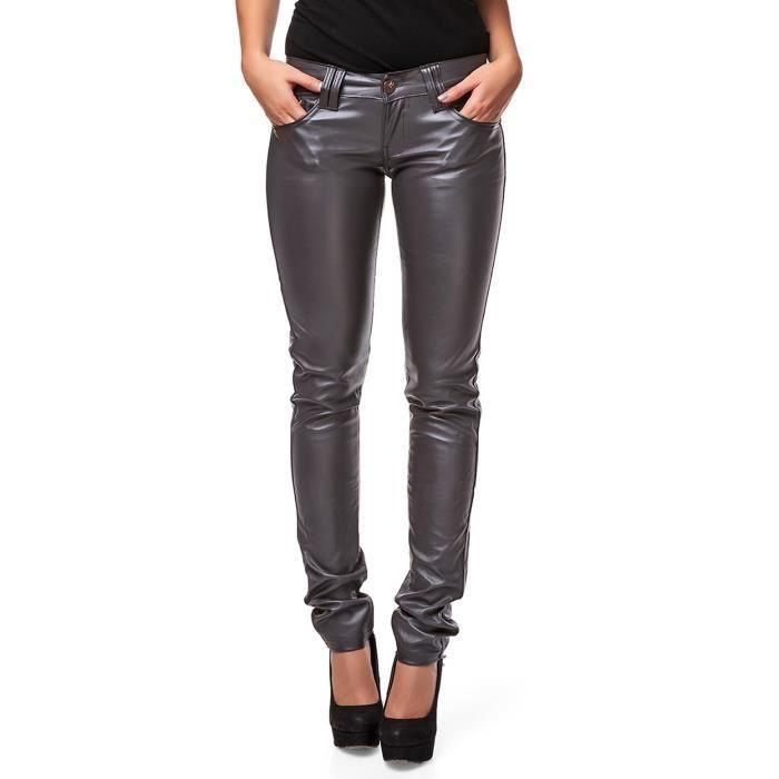 24brands pantalon cuir femmes gris achat vente. Black Bedroom Furniture Sets. Home Design Ideas