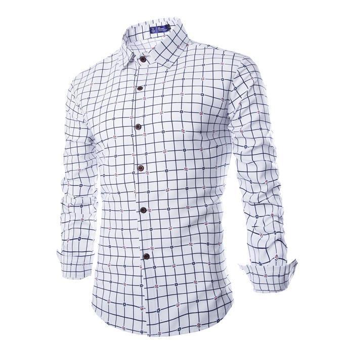 Plaid chemise pour hommes blanc blanc achat vente for Plaid blanc pour canape
