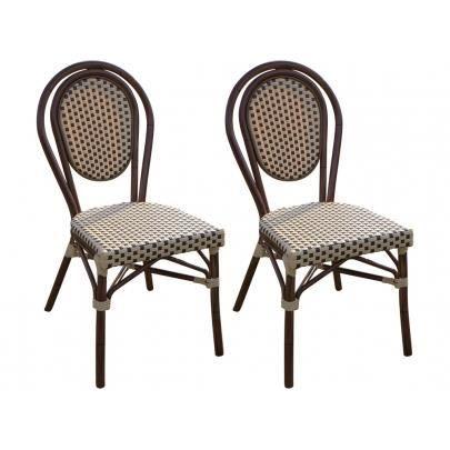 Lot de 2 chaises de jardin ivy en r sine tress e - Chaise jardin resine ...