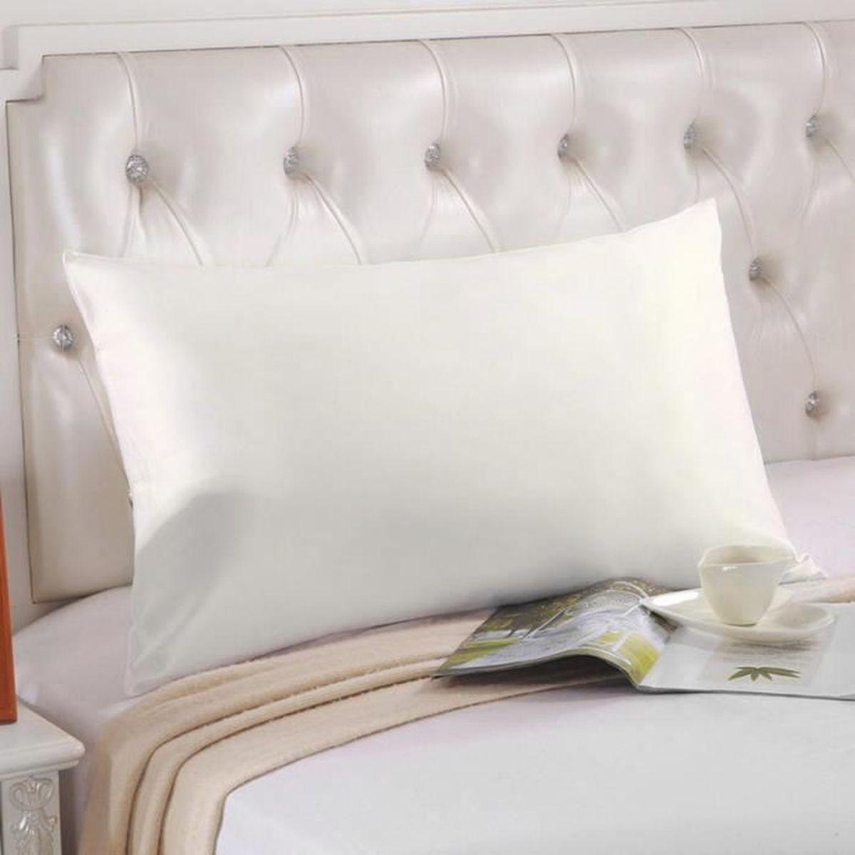 Taie d 39 oreilles soie 100 bonne qualit 76 50cm blanc ivoire lavable en m - Blanc d ivoire soldes ...