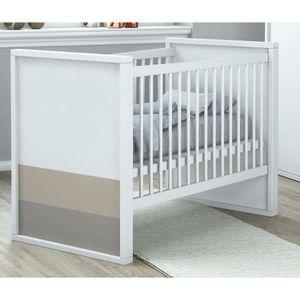 PLAGE Lit bébé ? Barreaux 60x120 cm coloris blanc, basalte et argile