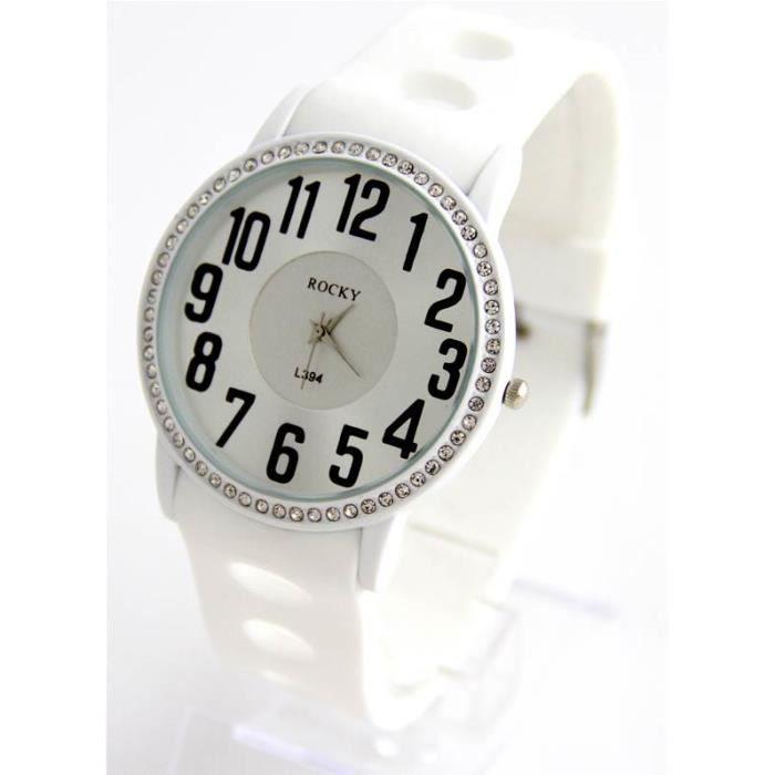 jolie montre femme bracelet silicone blanc rocky 1272 achat vente montre cdiscount. Black Bedroom Furniture Sets. Home Design Ideas