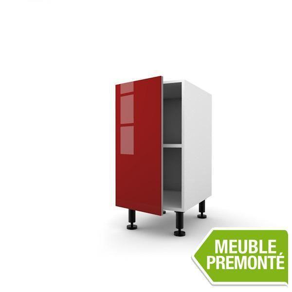 Meuble bas 30cm 1 porte 70x30 cristal rouge achat vente elements bas meuble bas 30cm 1 porte for Meuble 70x30