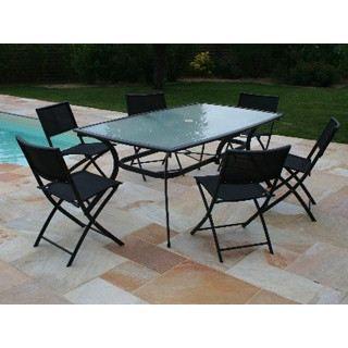 Table de jardin en aluminium plateau verre noir achat for Achat table de jardin