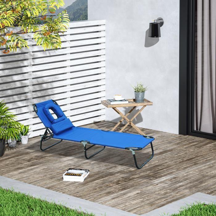 chaise longue pliante noir achat vente fauteuil jardin. Black Bedroom Furniture Sets. Home Design Ideas
