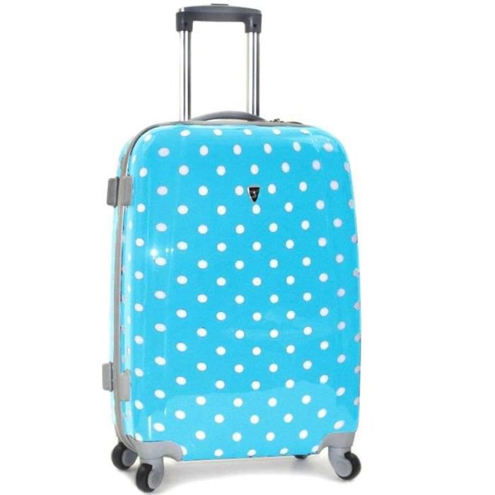 valise pois trolley 4 roues rigide 60cm bleu achat vente valise bagage valise pois. Black Bedroom Furniture Sets. Home Design Ideas