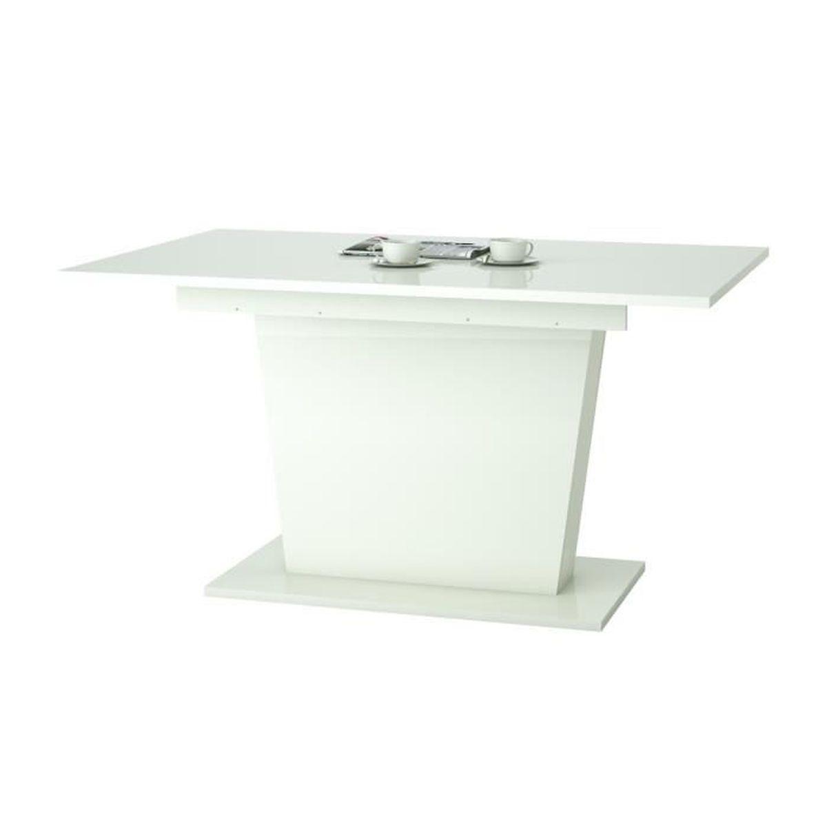 Table Manger Extensible Pour 6 8 Personnes Style Contemporain Blanc Brillant L 140 180 X L
