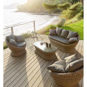 Table jardin resine ovale achat vente table jardin for Salon exterieur gris