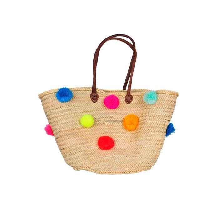 panier de plage marocain pompons multicolores achat vente panier sac de plage. Black Bedroom Furniture Sets. Home Design Ideas