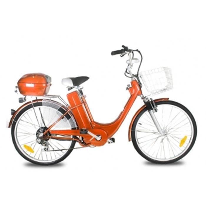 V lo assistance lectrique 250w e go city 1 26 orange prix pas cher cd - Velo assistance electrique pas cher ...