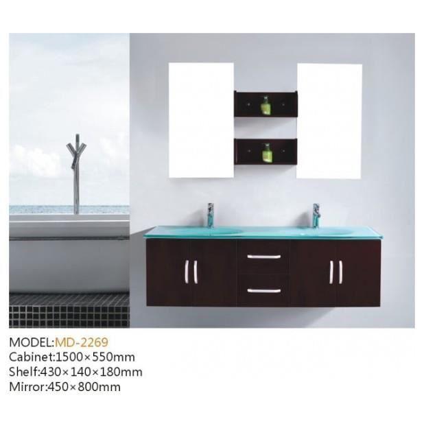 Ensemble Meuble Salle De Bain Complet 39 Gaia 39 2 Vasques 2 Miroirs Achat Vente Salle De Bain