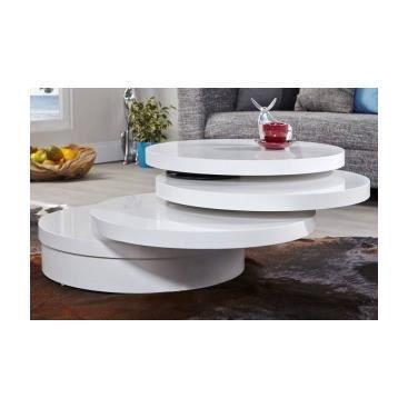 Table basse avec 3 plateaux pivotants milena achat - Table de sejour design pas cher ...
