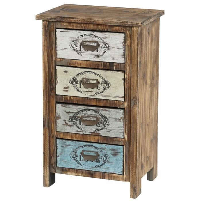 commode cadiz armoire table d 39 appoint vintage shabby chic 79x48x33cm achat vente commode. Black Bedroom Furniture Sets. Home Design Ideas