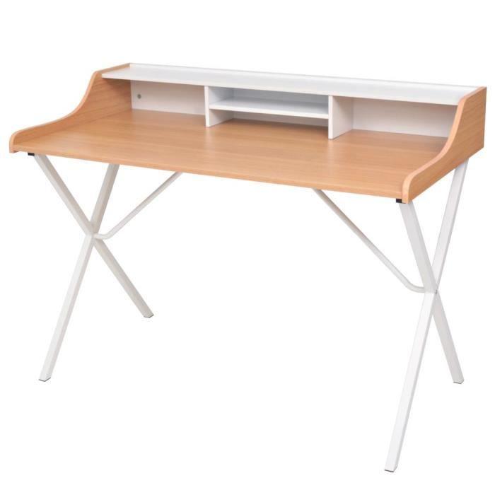Table d 39 ordinateur avec 2 tiroirs naturel achat vente for Table d appoint ordinateur