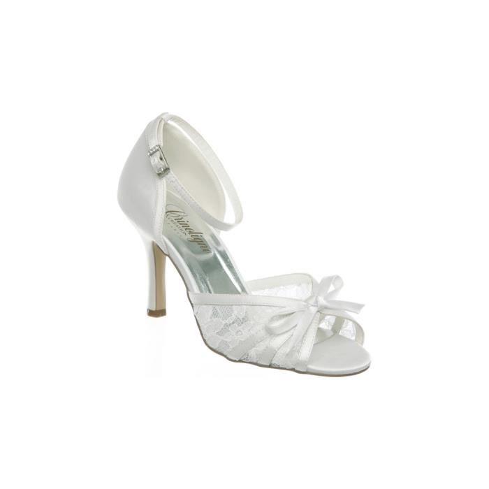 chaussure en dentelle avec noeud ivoire beige ivoire achat vente escarpin cdiscount. Black Bedroom Furniture Sets. Home Design Ideas