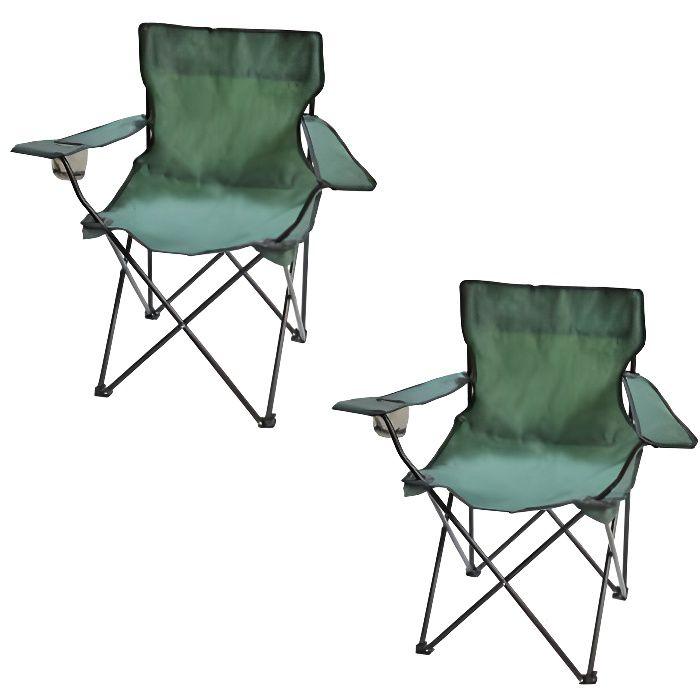 fauteuil de camping pliable vert lot de 2 achat vente fauteuil jardin fauteuil de camping. Black Bedroom Furniture Sets. Home Design Ideas