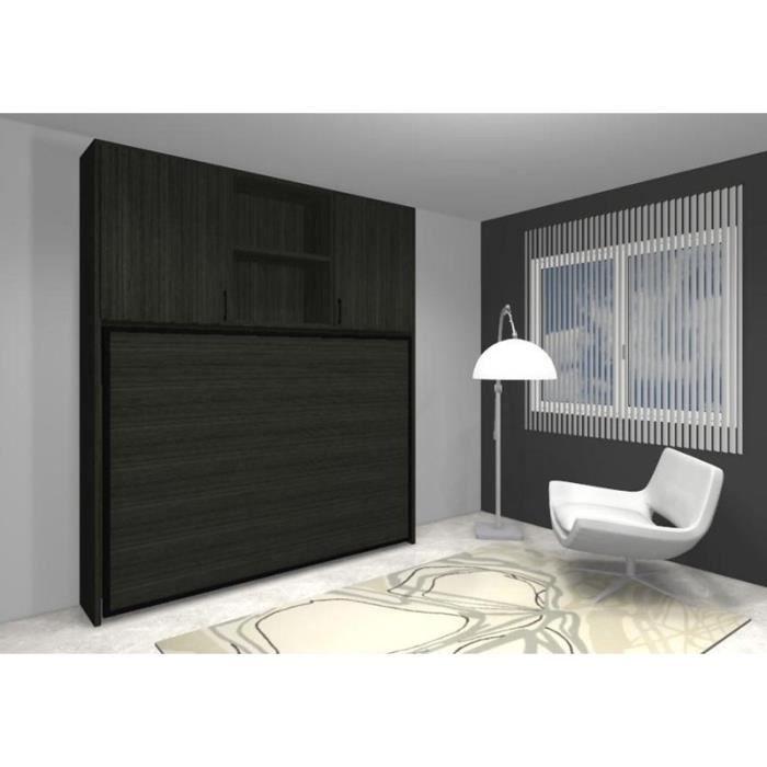 lit escamotable lat ral fleet 160x190cm rangements achat vente lit escamotable lit. Black Bedroom Furniture Sets. Home Design Ideas