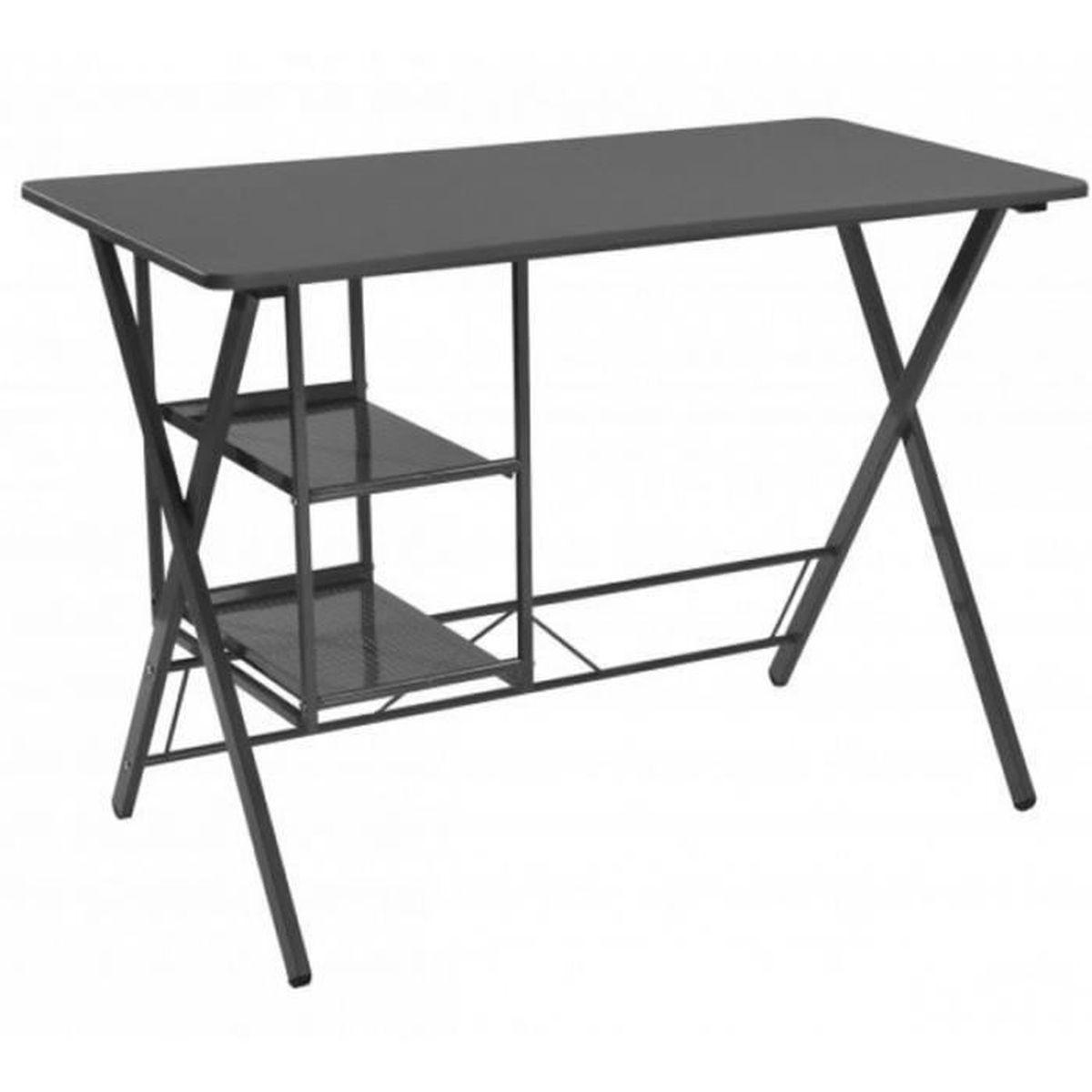 Bureau informatique avec tag res bureau m tal noir avec for Meuble bureau avec etagere