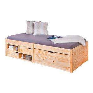 Lit en bois massif avec rangement achat vente lit en bois massif avec ran - Lit bois massif avec rangement ...