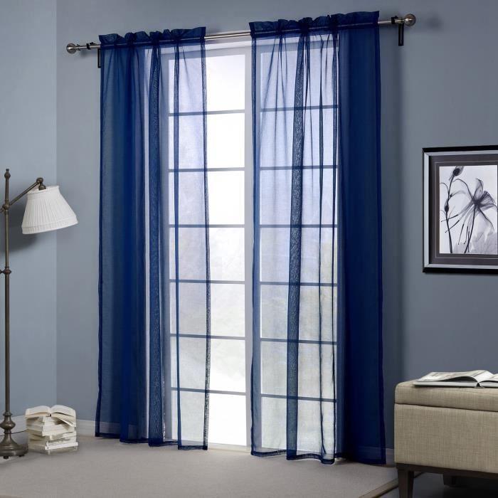 panneau rideau voilage moderne simple design bleu fonc polyester 132 213cm rideau tringle. Black Bedroom Furniture Sets. Home Design Ideas
