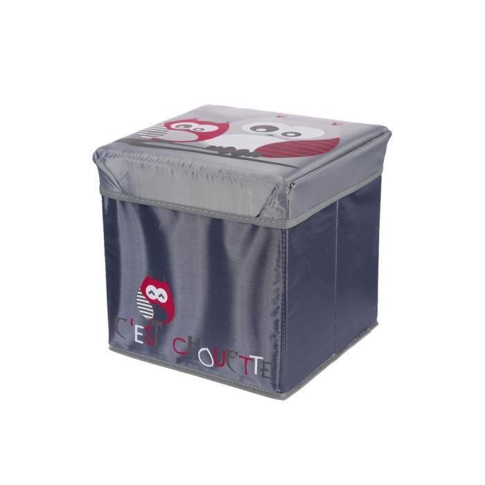 Coffre de rangement gris motif chouette rg5755 achat - Coffre de rangement bebe ...