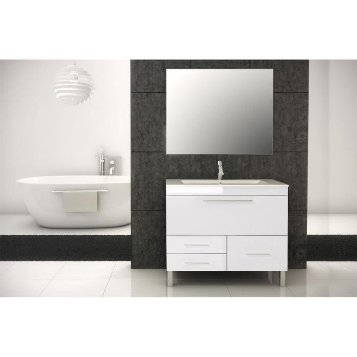 Ensemble de salle de bain monaco meuble blanc brillant 100 cm achat vente - Ensemble salle de bain discount ...